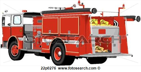 Clip Art Of Fire Engine Truck 22p0276   Search Clipart Illustration