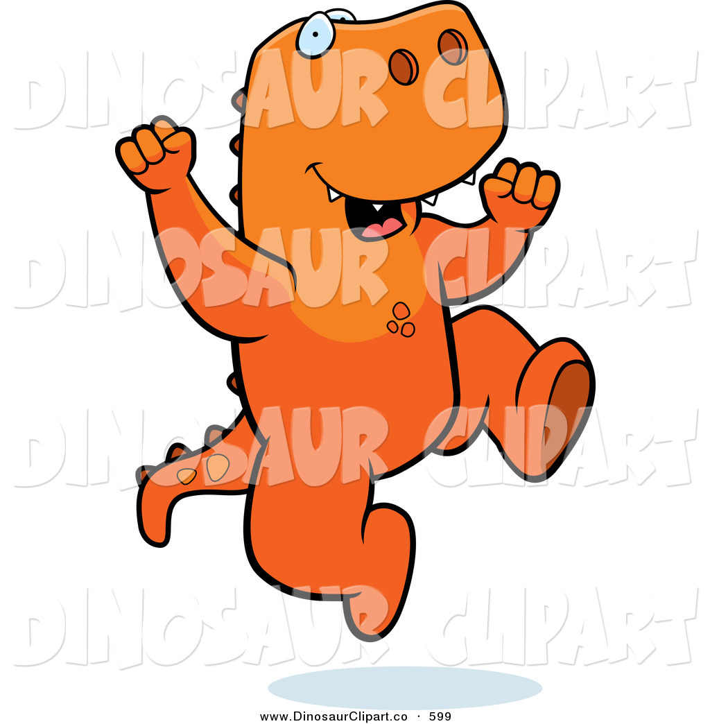 Larger Preview Vector Of A Happy T Rex Jumping For Joy By Clipart