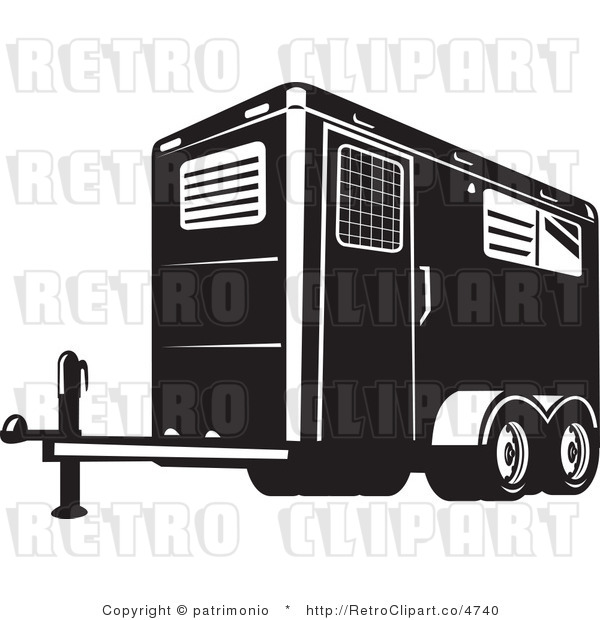 Rf  Retro Clipart Illustration Of Horse Trailer  This Trailer Stock