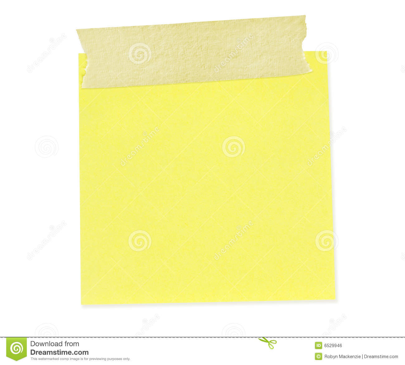 Sticky Note With Tape  Path Included  Royalty Free Stock Image   Image