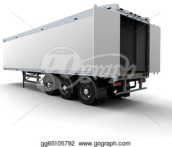 Stock Illustration   3d Render Of A White Freight Trailer  Clip Art