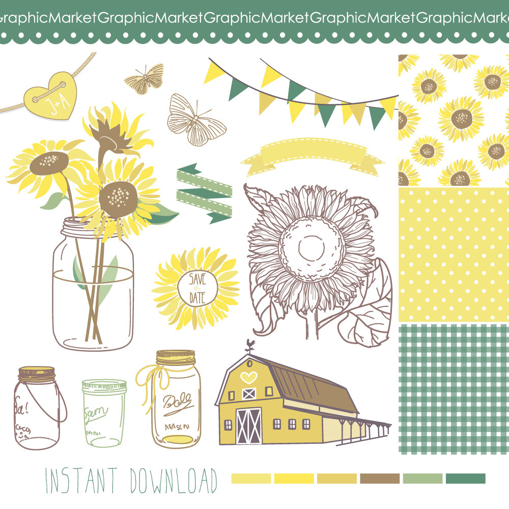 Sunflower Wedding Clipart Clipart Suggest