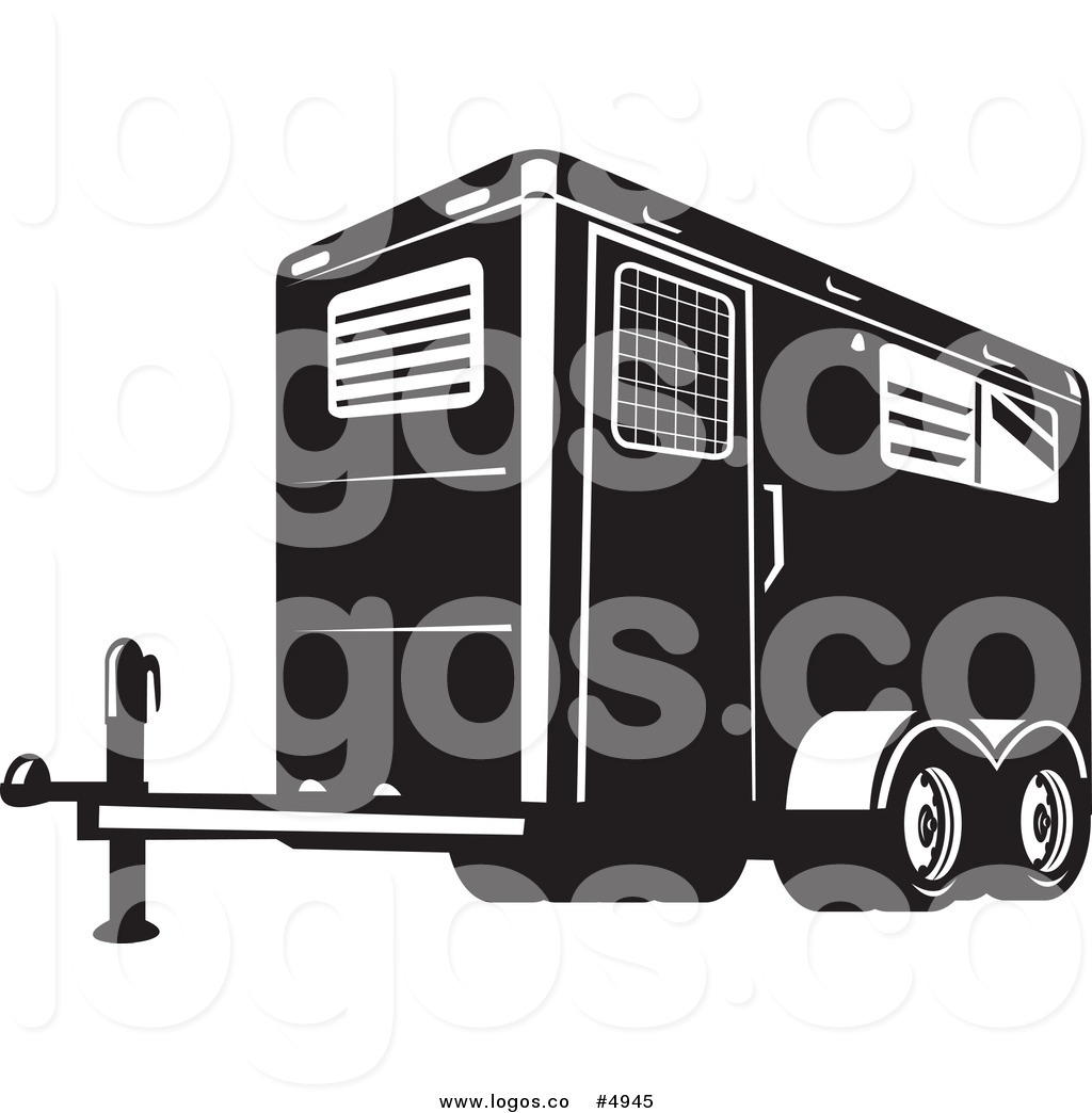 Vector Of A Black And White Horse Trailer Logo By Patrimonio    4945