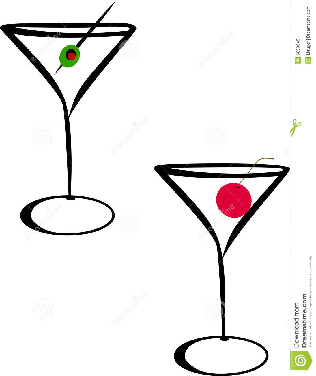 An Illustration Of Martini Glasses With Cherry And Olive Isolated On