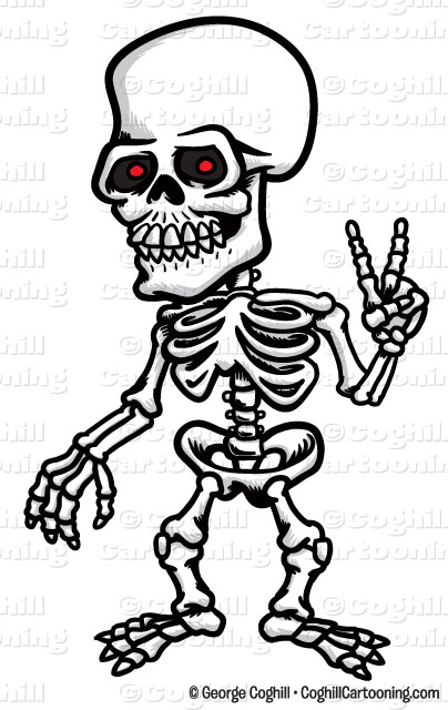 Cartoon Clipart Stock Illustration Of A Skeleton Doing The Peace Sign