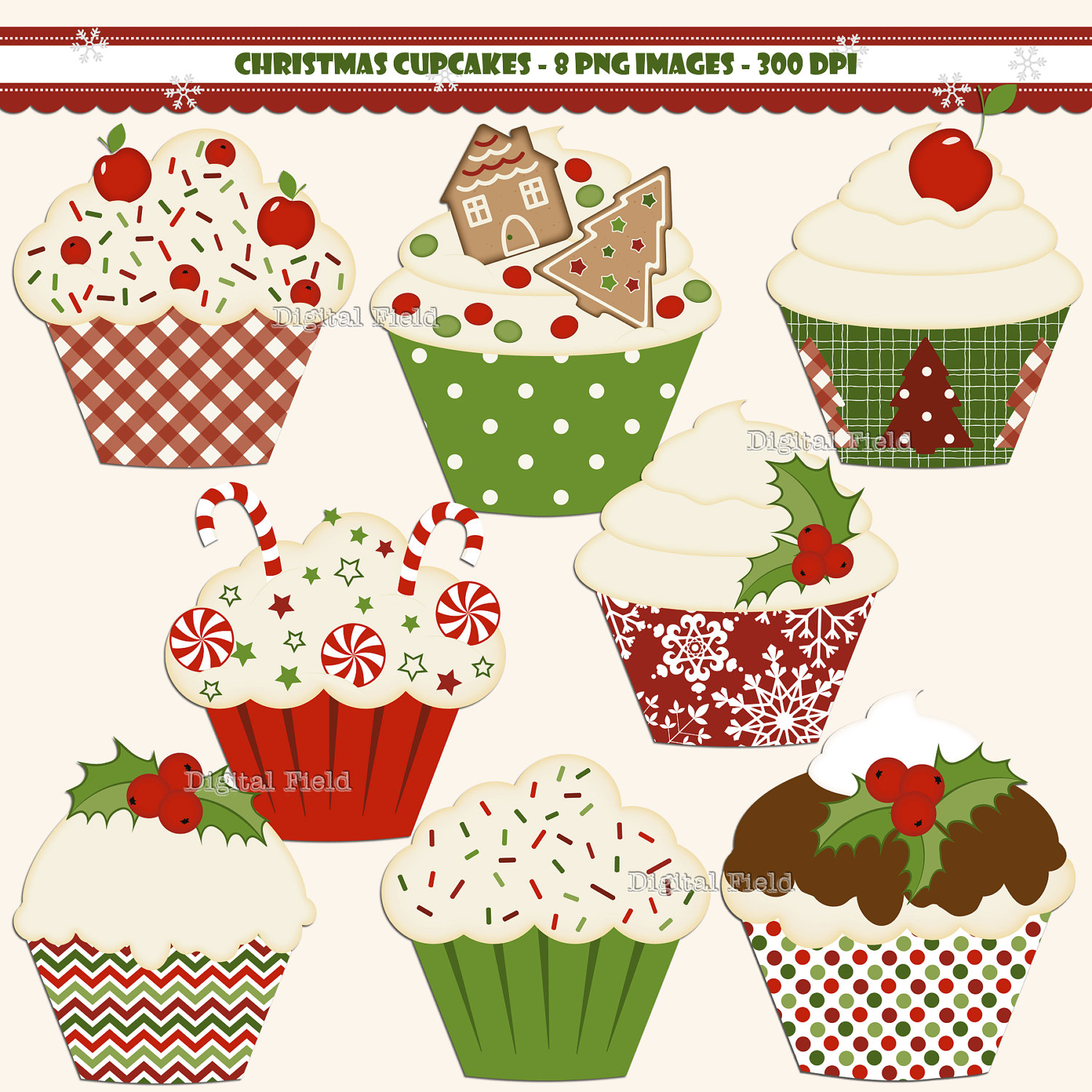 Christmas Cupcake Clip Art Set Red Green By Digitalfield On Etsy