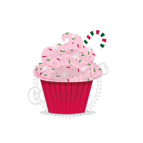 Christmas Cupcake Clipart By Gloriacastaneda On Etsy