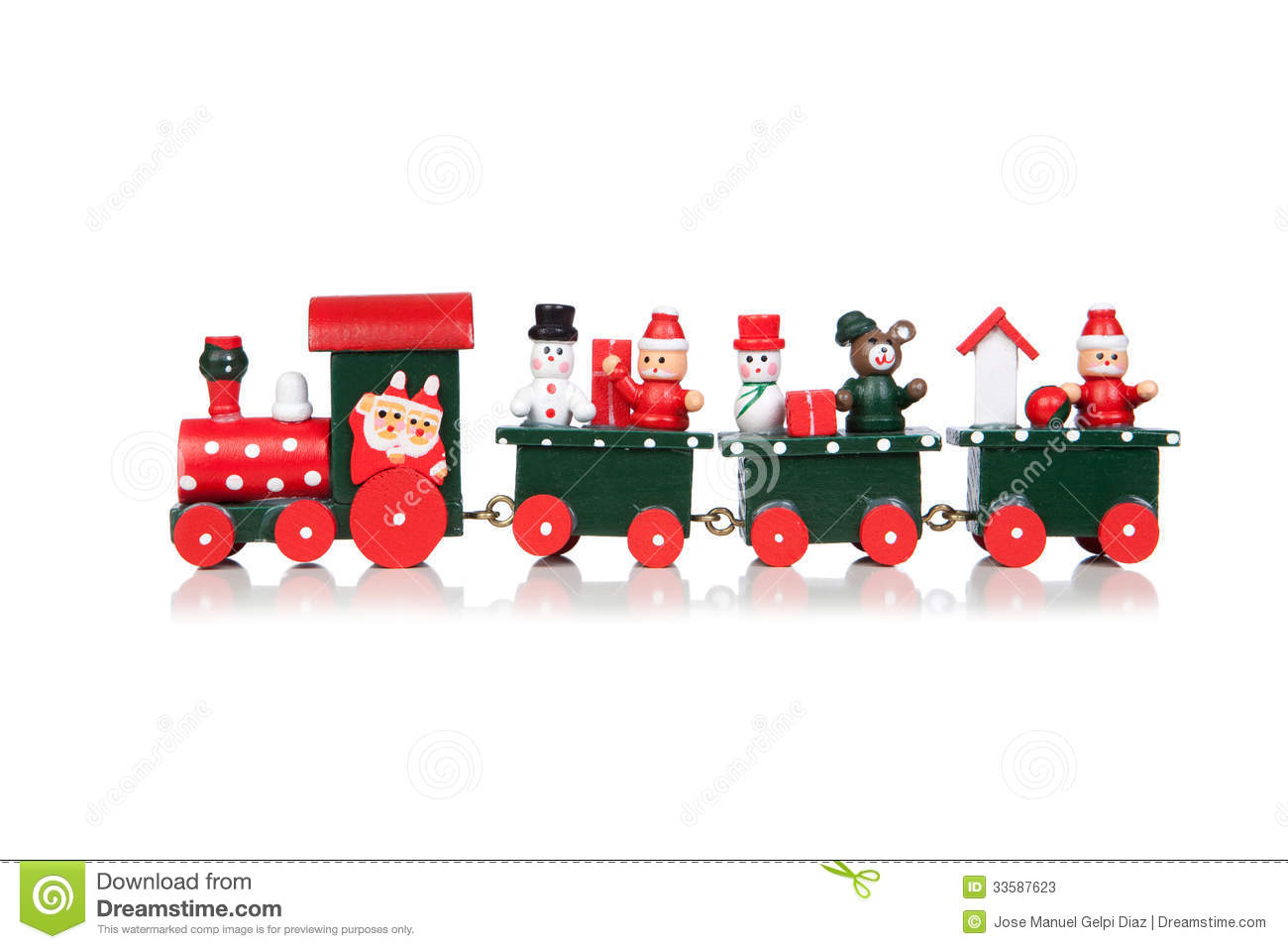 Christmas Toy Train Isolated Over White Background