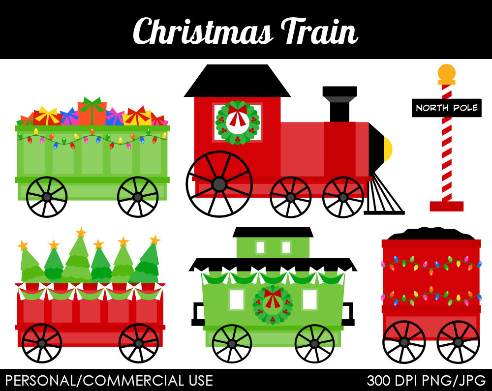Christmas Train Clipart Digital Clip Art By Mareetruelove On Etsy