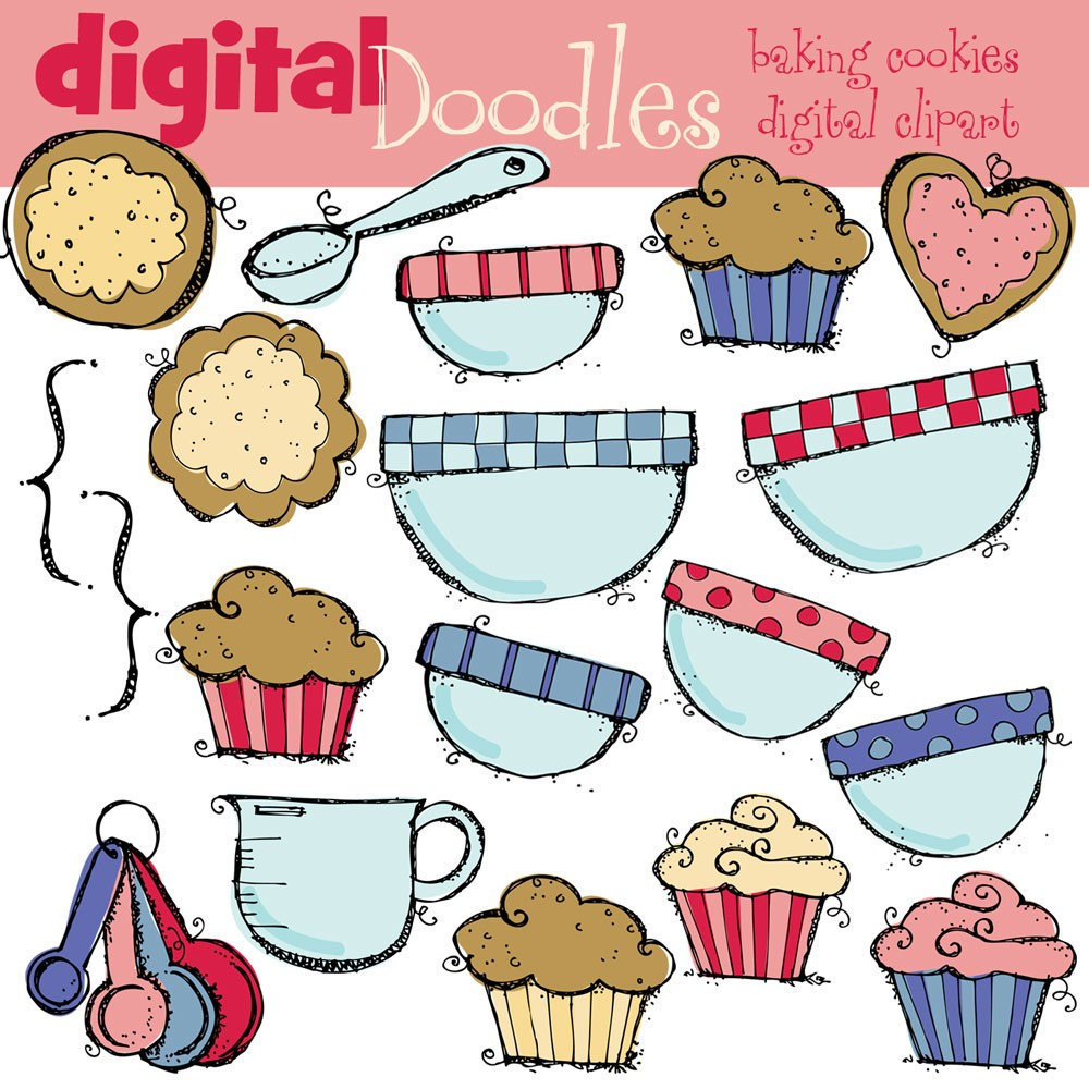 Combo Baking Cookies Digital Clipart And Blackline By Kpmdoodles