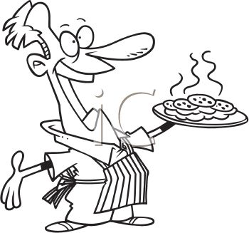 Husband Baking Cookies For The Family   Royalty Free Clipart Image