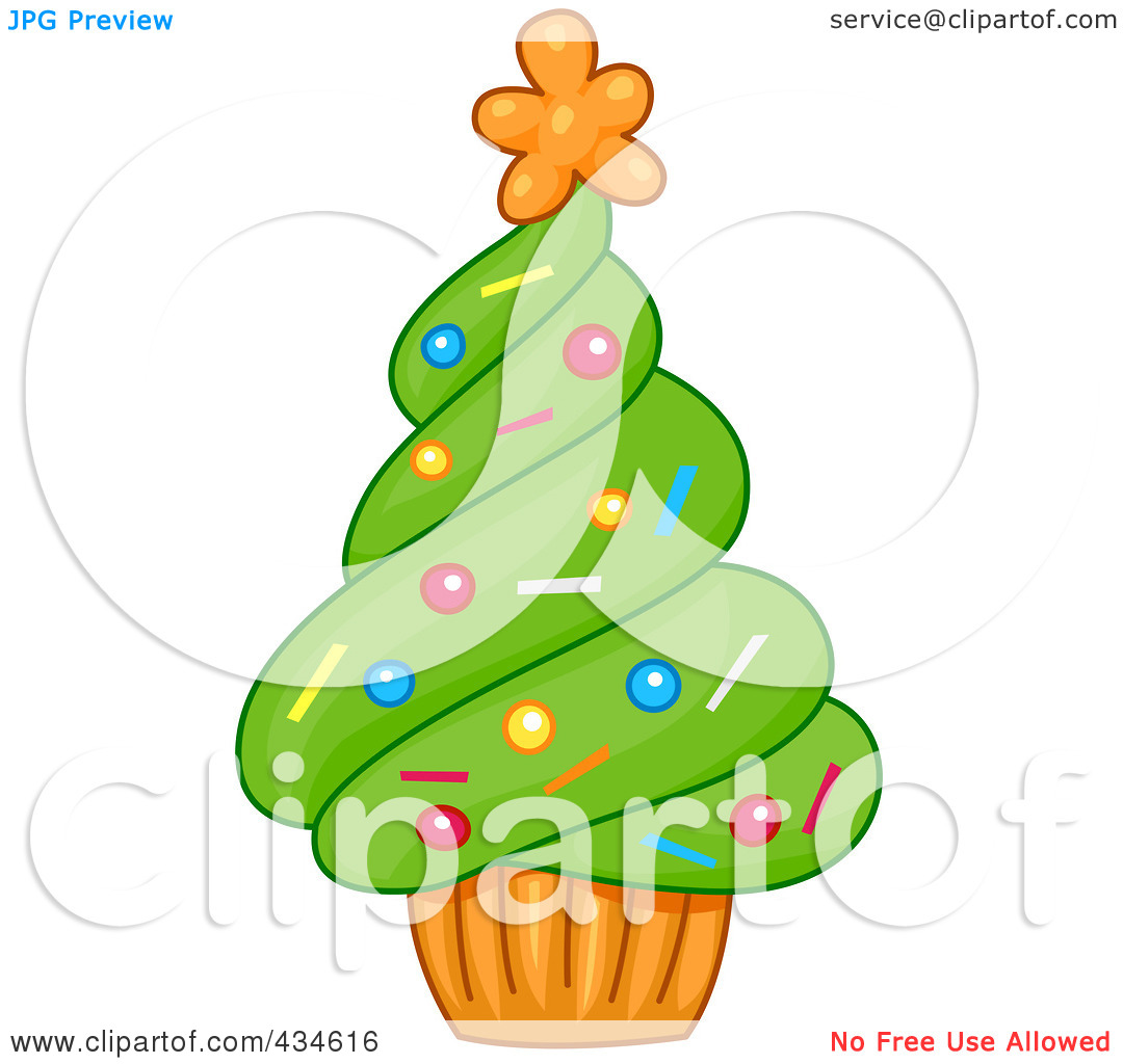 Royalty Free  Rf  Clipart Illustration Of A Cupcake Christmas Tree By