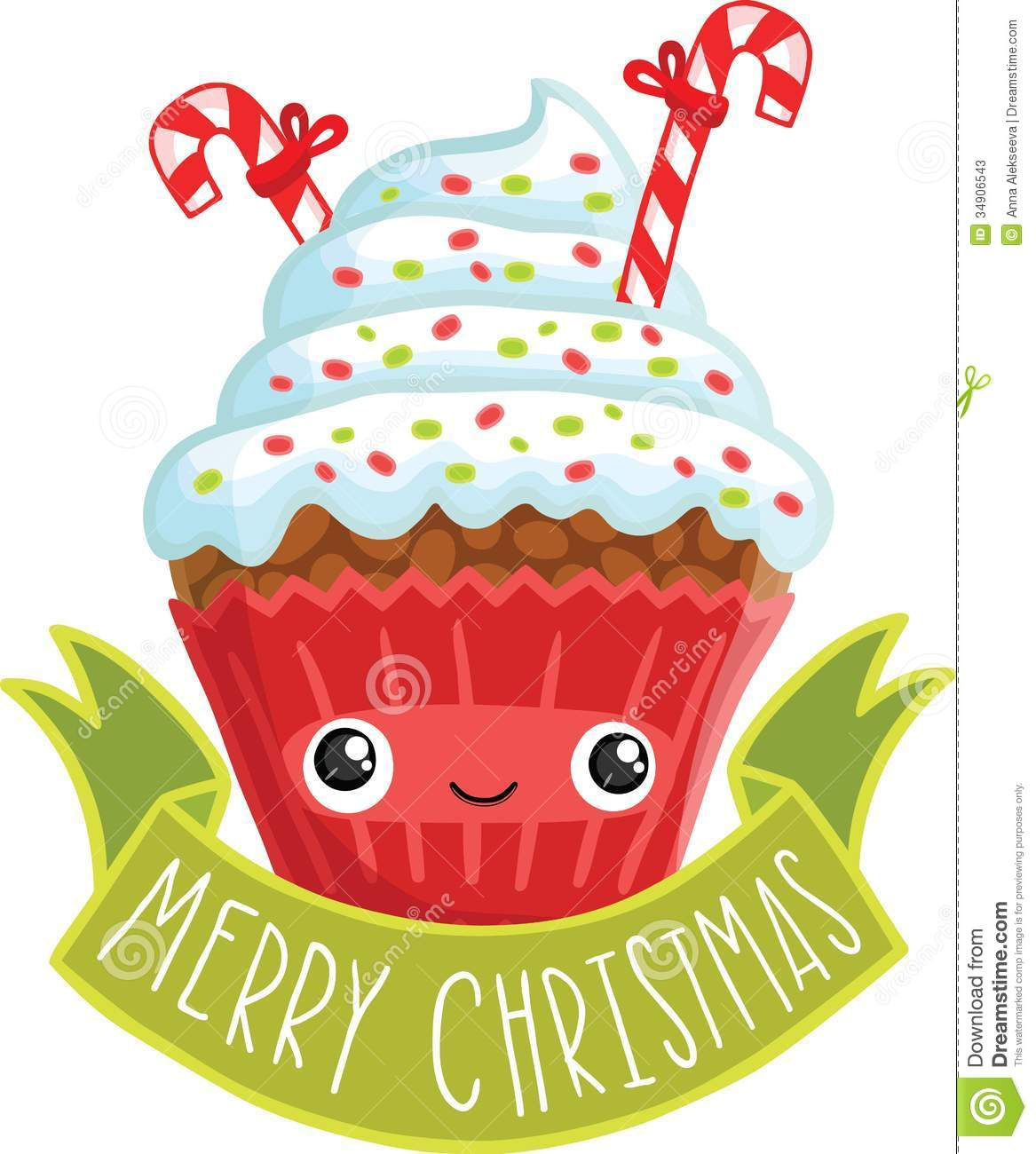 Smiling Cupcake  Cute Cartoon Christmas Muffin Illustration