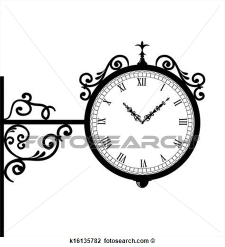 Clipart Of Forging Retro Clock With Vignette Arrows K16135782   Search