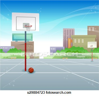 Drawing   Outdoor Basketball Court  Fotosearch   Search Clipart