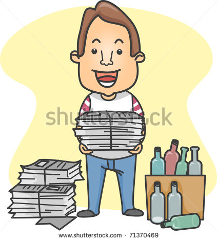 Illustration Of A Man Organizing Things For Recycling   Stock Vector