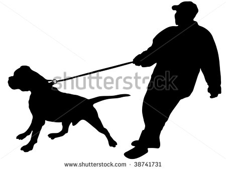 Just Keeps His Large Dog On A Leash  Vector    38741731   Shutterstock