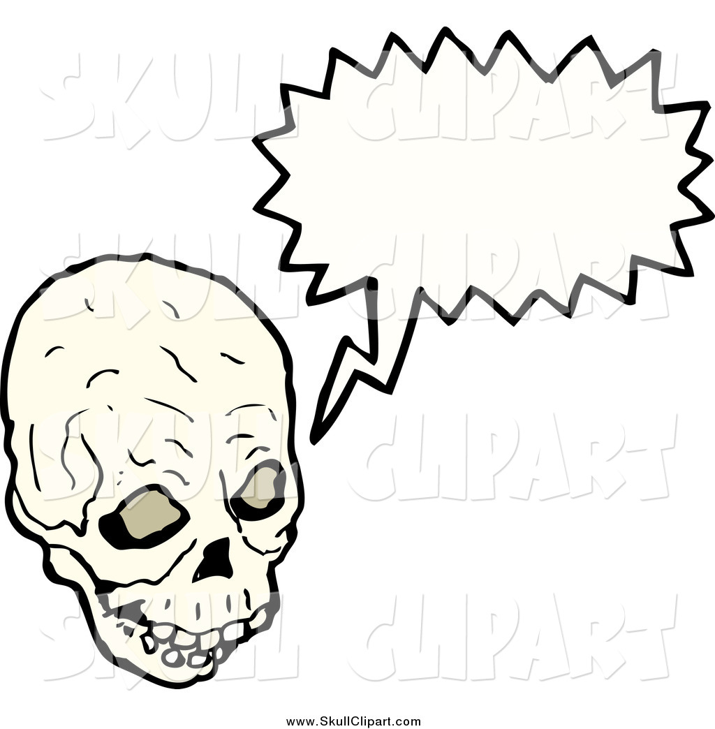 Larger Preview  Vector Clip Art Of A Creepy Skull Speaking By