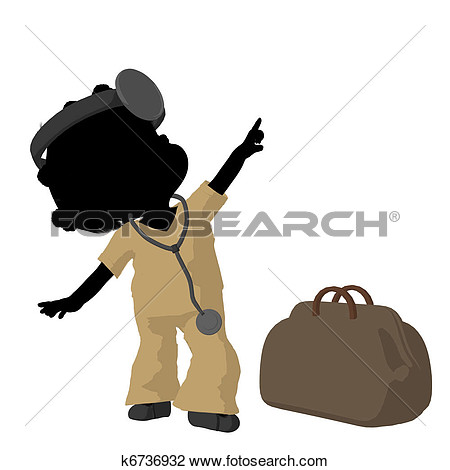 Little African American Doctor Girl Next To A Doctor Bag On A White
