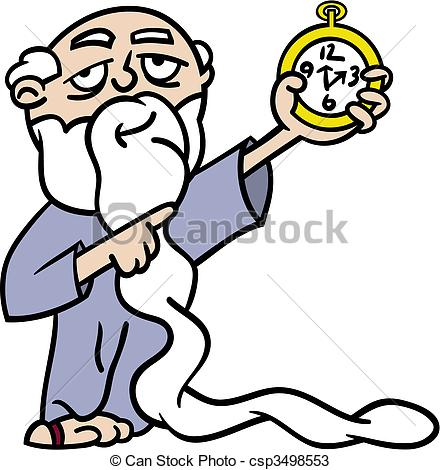 Long White Beard Pointing At A Watch Reminding Us Time Is Running Out
