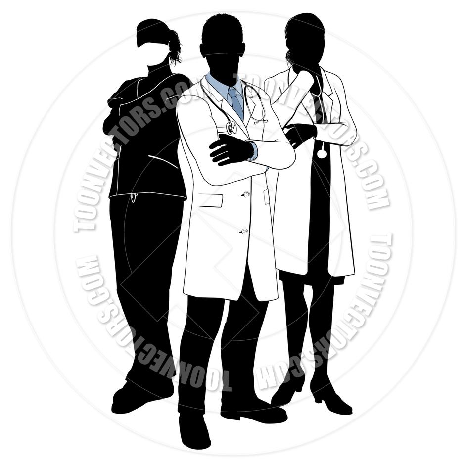 Medical Team Doctor Silhouettes By Geoimages   Toon Vectors Eps