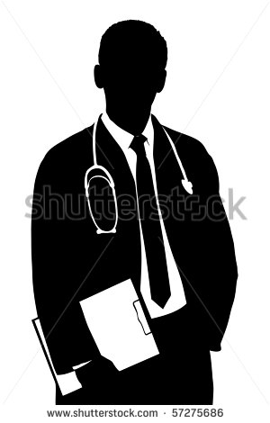 Silhouette Of A Doctor Isolated Against White Background Stock Photo