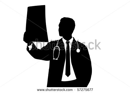 Silhouette Of A Medical Doctor Examining Ct Scan Isolated On White