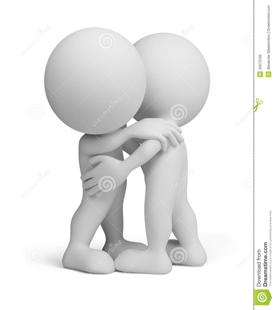 3d People Hugging Each Other  3d Image  Isolated White Background