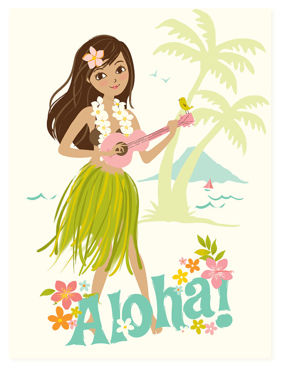 Vintage Hula Girl Clipart - Clipart Kid