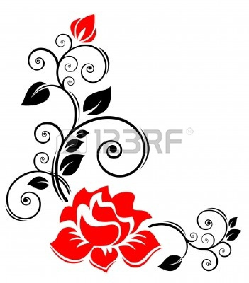 Black And White Rose Border Clip Art 5516127 Stylized Floral Border
