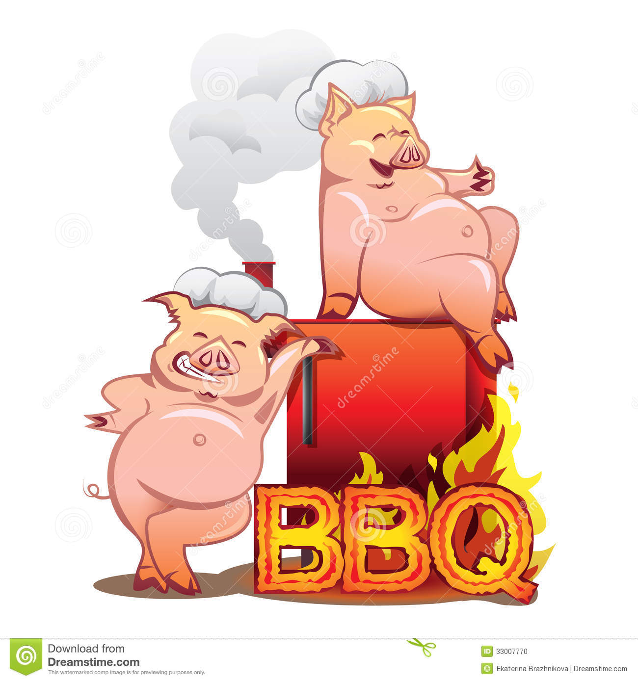 Cartoon Pig Bbq Two Funny Pigs Near The Red