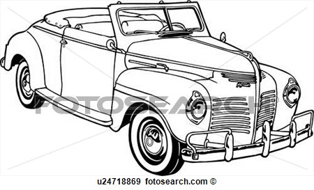 Clip Art Of  1950 Automobile Car Classic Deluxe P 10 Plymouth