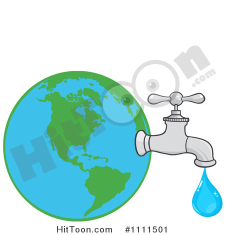 Clipart Water Faucet Attached To Earth   Royalty Free Vector