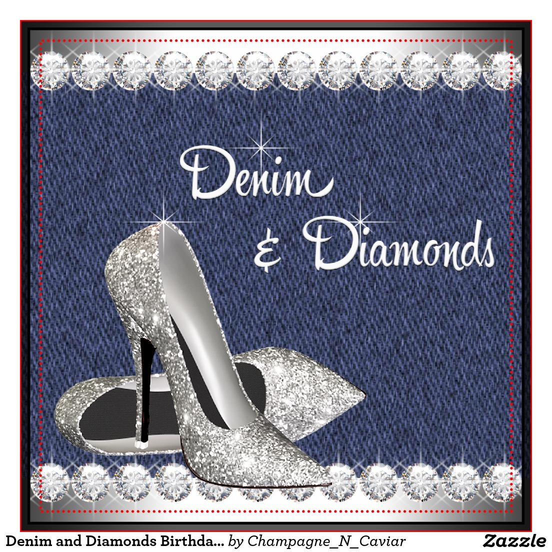 the gallery for gt denim and diamonds party invitations