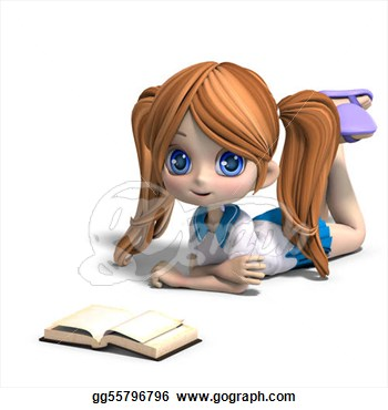 Drawings   Cute Little Cartoon School Girl Reads A Book  3d Rendering