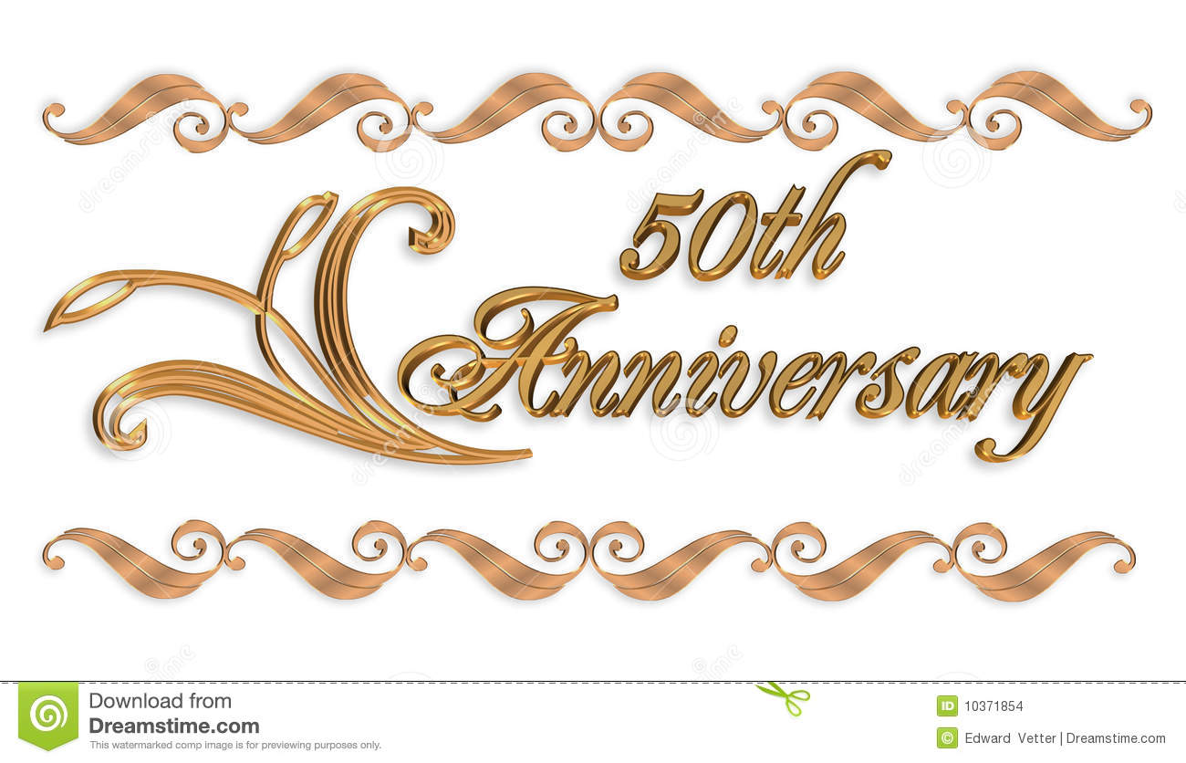 For 50th Wedding Anniversary Party Invitation On White Background