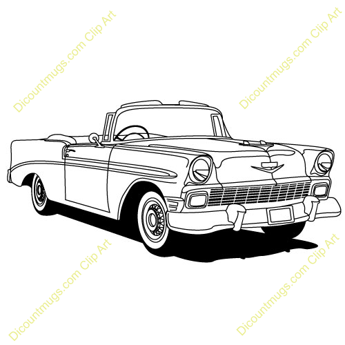 fifties cars clipart