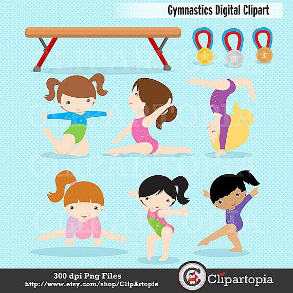 Gymnastics Clipart   Girls Gymnastics Cute Digital Clipart   For