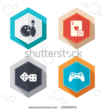 Hexagon Buttons  Bowling And Casino Icons  Video Game Joystick And