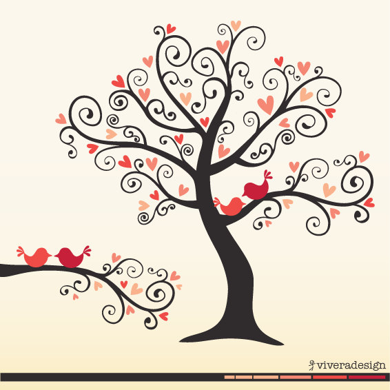 Love Birds On A Love Tree   In Coral Pink   Digital Clip Art