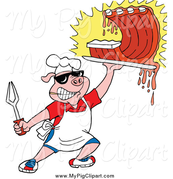 Pig Holding Up Saucy Bbq Ribs Pig Clip Art Lafftoon