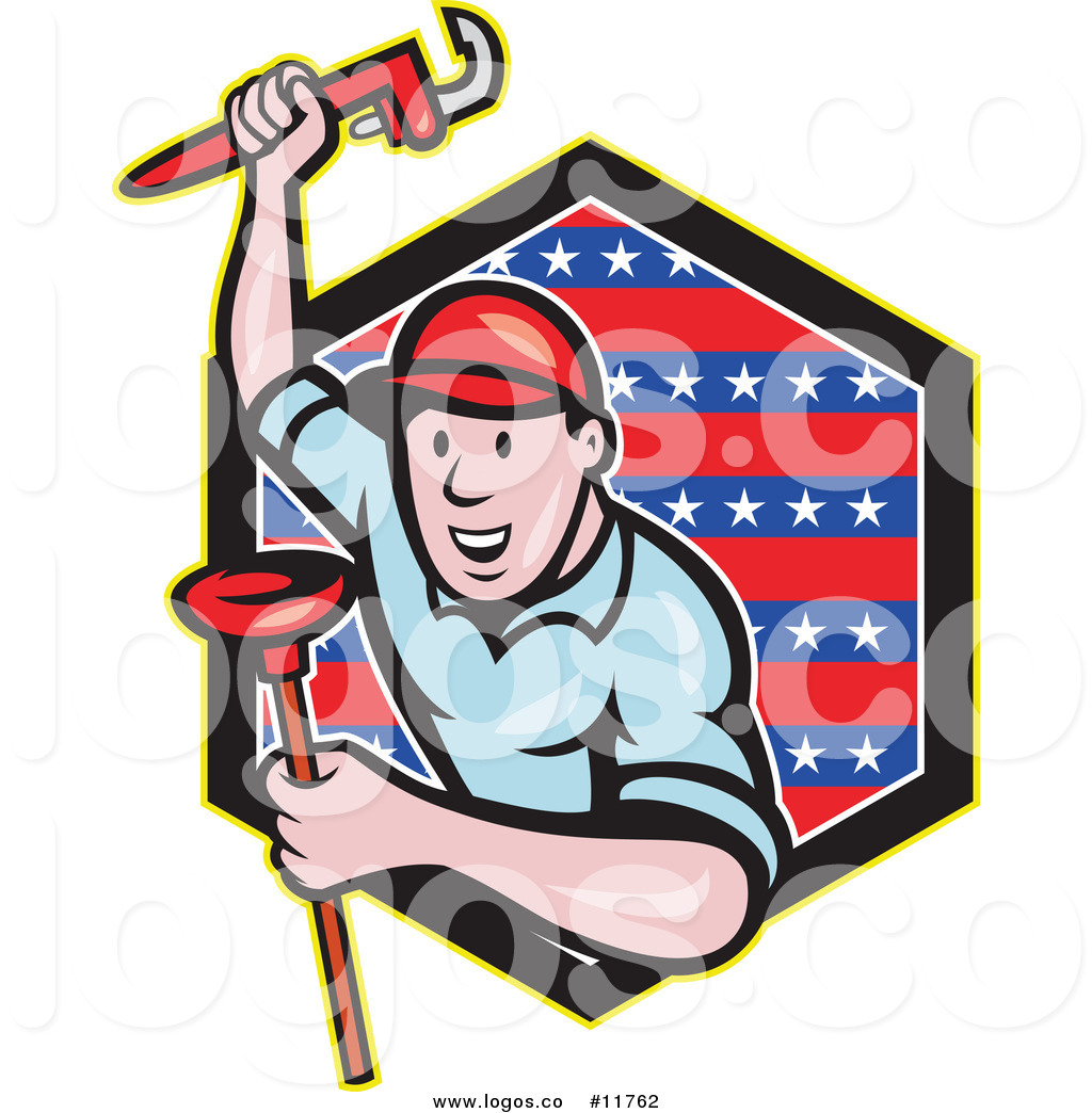 Royalty Free Clip Art Vector Logo Of A Plumber With A Monkey Wrench