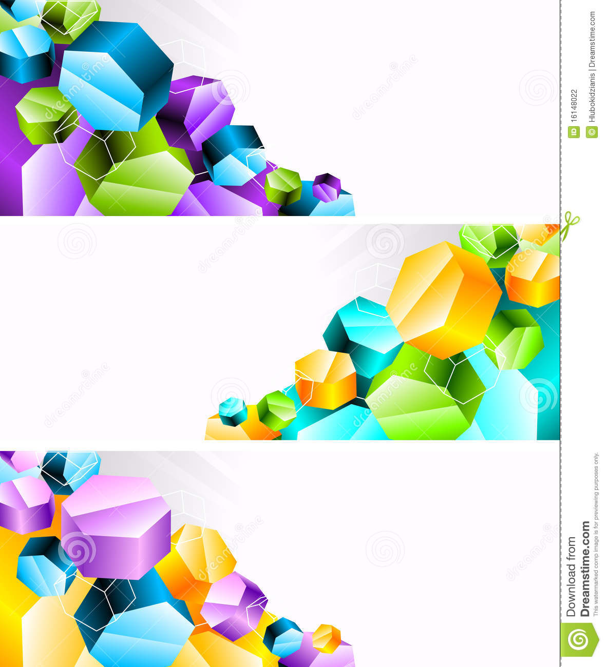 Set Of Banners With 3d Hexagon  Clip Art