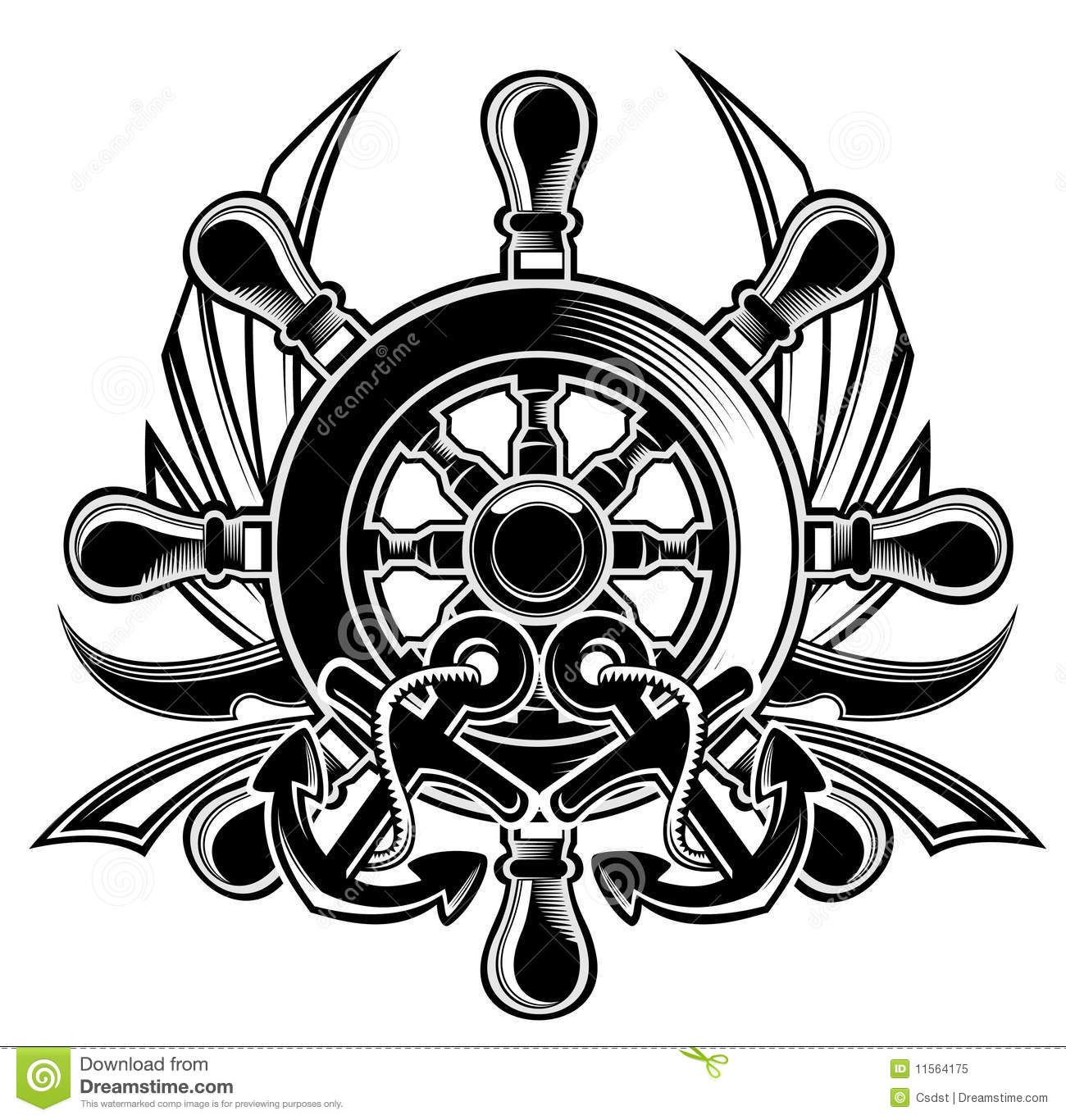 Ship Steering Wheel Shield Royalty Free Stock Photo   Image  11564175