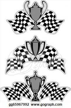 Stock Illustration   Racing Sport Awards And Trophies With Checkered