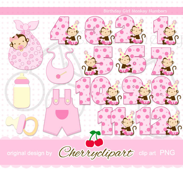 Baby Icons Brithday Girl Tutu Monkeys Numbers By Cherryclipart