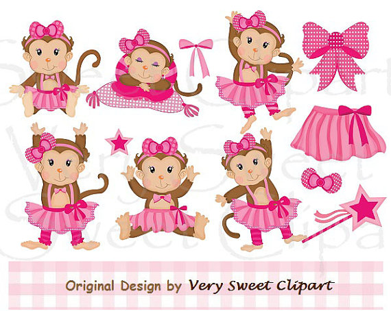 Ballet Ballerina Girl Monkeys Digital By Verysweetclipart On Etsy