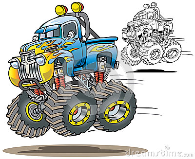Cartoon Flamed Airborne Monster Truckin Both Full Color And Line Art