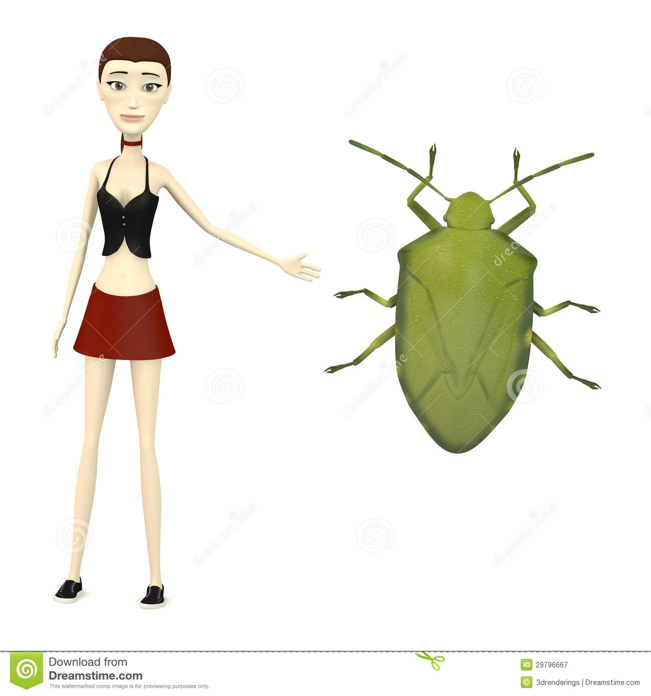 Cartoon Girl With Stink Bug Royalty Free Stock Photography   Image