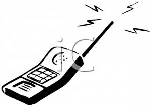 Cell Phone Clipart Black And White Black And White Ringing Cellular